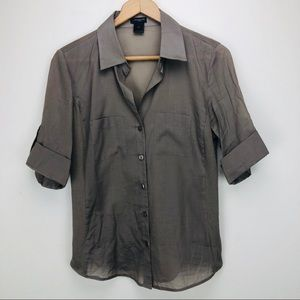 Ann Taylor Cotton Blouse Button Up Career Style 6